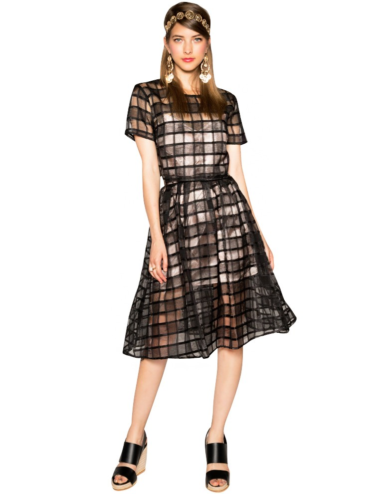 black organza matching separates crop top with midi