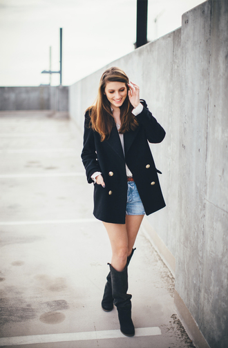 blogger blouse black boots these days pea coat