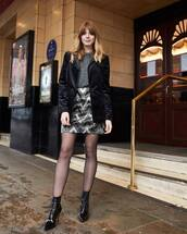 skirt,sequin skirt,tights,ankle boots,black boots,velvet,black blazer,sweater