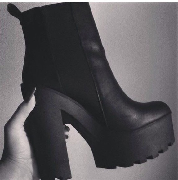high heels shoes black heels heels platform shoes boots black boots chunky boots platform boots chunky heels cleated sole chelsea boots