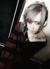 sweater,red and black sweater,striped red and black,v neck,visual kei