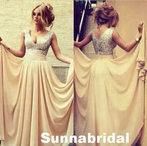 Champagne chiffon sequins sexy long custom evening by sunnabridal