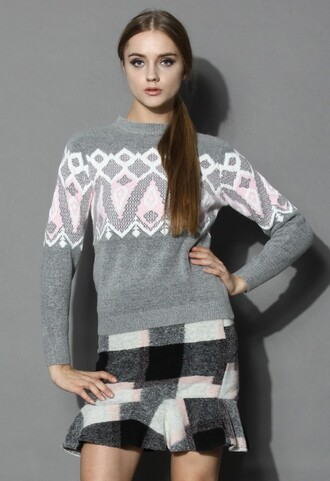 sweater chicwish cute and grey patterned sweater fashion and chic