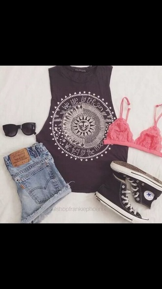 shirt black indie hipster moon sun white black and white pink chuck taylor all stars tank top muscle tee