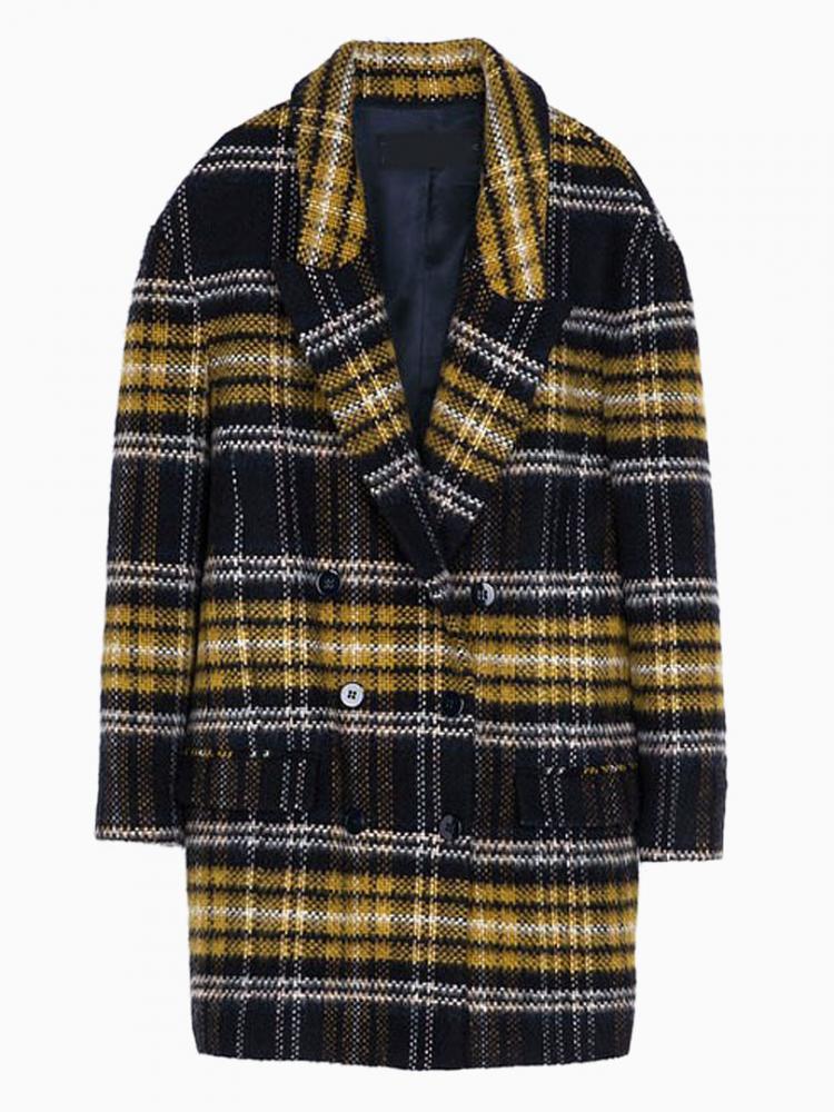 Brown Wool Coat In Grid   Choies