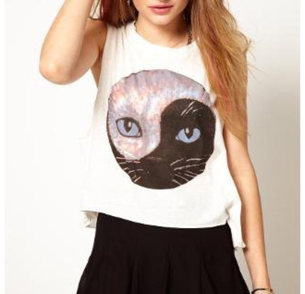 blouse cats tumblr shirt tumblr grunge shirt cats yin yang top short eyes animal style fashion white crop tops crop tops cats t-shirt cat eye yin yang shirt tank top crop tops