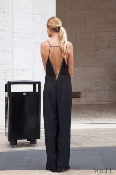 backless black little black dress maxi dress jumpsuit