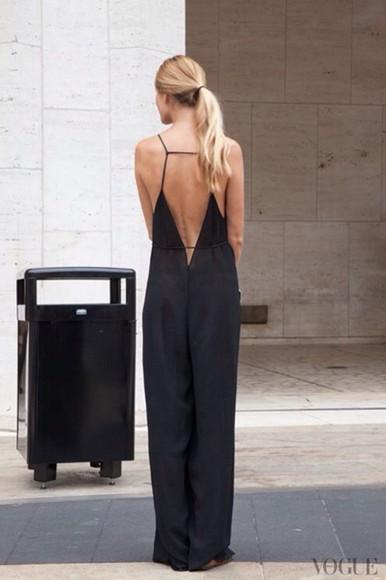 black little black dress maxi dress backless jumpsuit