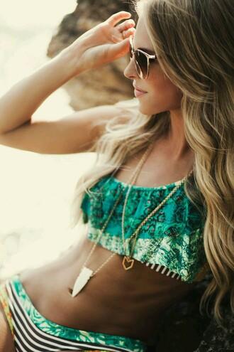 swimwear bikini green swimwear green bikini top beachwear boho hippie