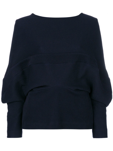 top women cotton blue knit