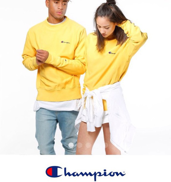 Sweater: yellow, champion, sweatshirt - Wheretoget
