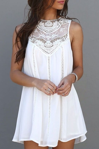 dress summer dress white white dress summer outfits lace lace dress sleeveless zaful white lace dress chiffon chiffon dress sleeveless dress trendy boho boho chic boho dress vestidos fall dress jacket high neck crochet dress crochet crochet top