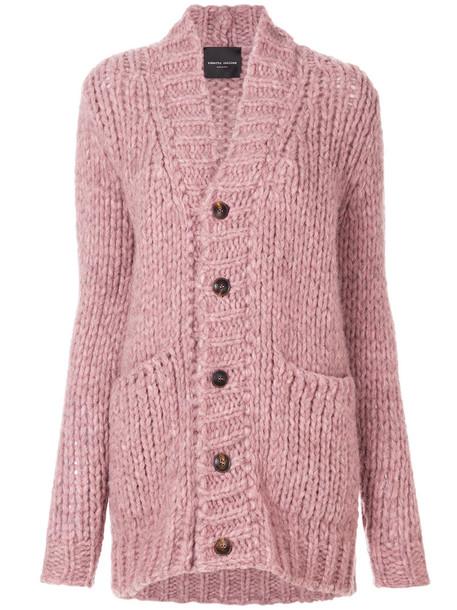 Roberto Collina cardigan cardigan oversized women purple knit pink sweater