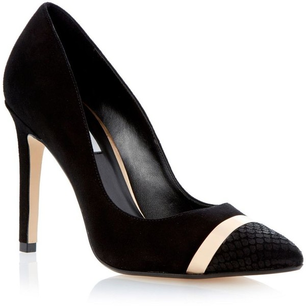 Black metal statement heel platform court shoe