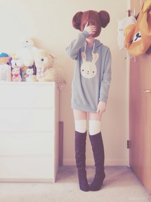 Sweater bunny jacket boots kawaii bear kawaii outfit lovely cute pastel bunny hoodie ...