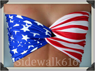 swimwear bandeau american flag america bikini american flag crop top usa