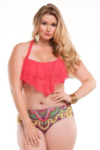 swimwear fringe bikini cute top bright patterned bikini bottoms bikini bikini top bikini bottoms curvy plus size swimwear