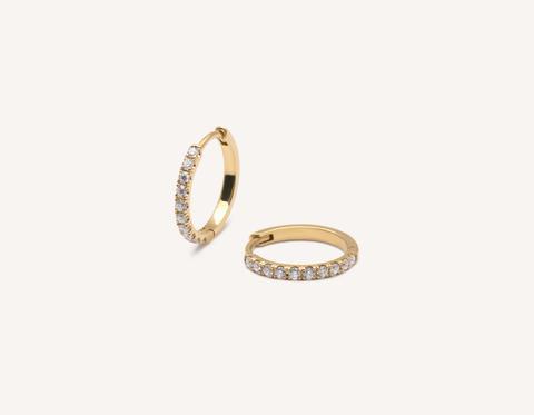 Pave Huggie Hoops - 14K Yellow Gold   Earrings