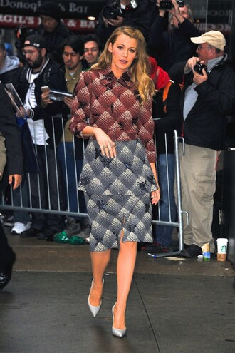coat skirt plaid shirt blake lively pumps shoes