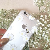 phone cover,yeah bunny,daisy,floral,cute,clear,pale,white,iphone cover,iphone case,iphone,daisies case