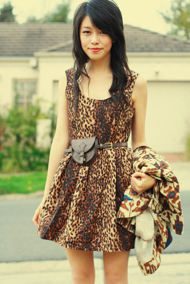 kani leopard print brown dress