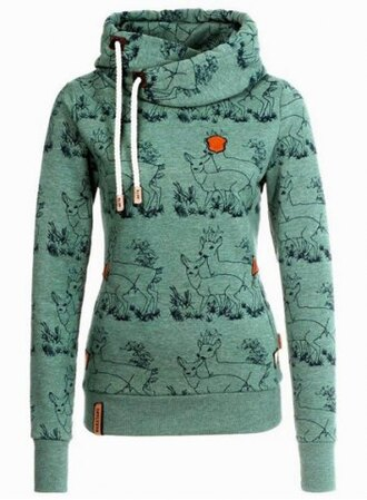 sweater green long sleeves fall outfits trendy stylish hooded long sleeve deer print women's hoodie stylish winter sweater casual cool warm cozy