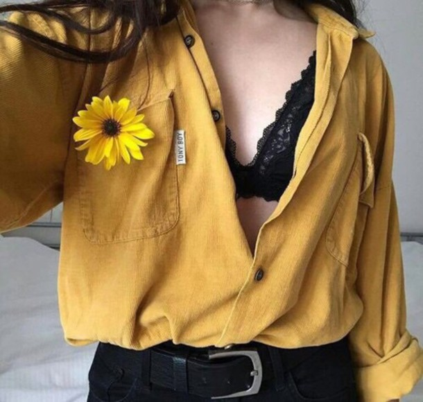 blouse yellow alternative indie shirt sweater button up spring mustard shirt mustard velvet suede vintage tony boy yellow moutarde top flannel pockets