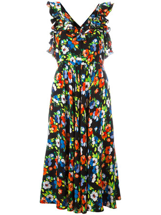 dress floral dress back women floral black silk