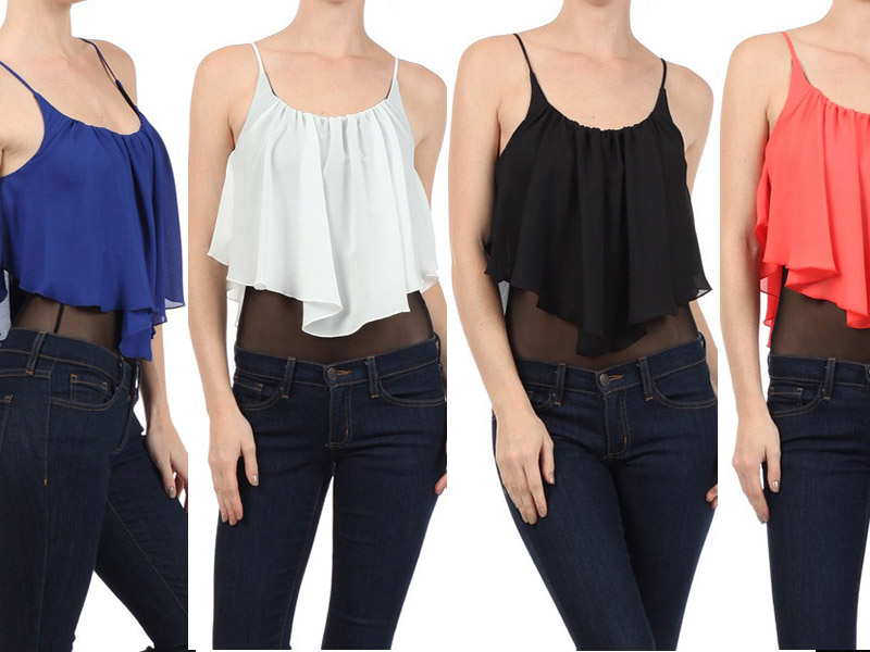 Women's Fashion Chiffon Draped Sleeveless Cropped Top Duo Fabric Bodysuit s M L | eBay