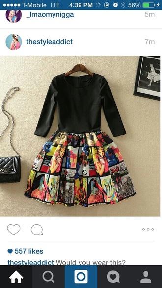 dress comic print chanel style short dress fashion shoes mary jane