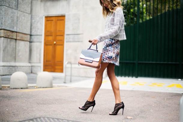 dress skirt blazer print dots print mini skirt colorful purple white
