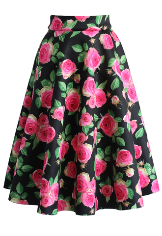 skirt pop of pink roses airy a-line midi skirt chicwish midi skirt a-line skirt floral skirt