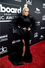 dress,gown,black dress,red carpet dress,slit dress,bebe rexha,billboard music awards