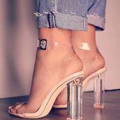 shoes,heels,clear heel,yeezy,nightwear,denim