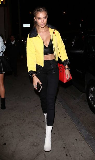 jacket yellow josephine skriver bralette crop tops top fall outfits model off-duty