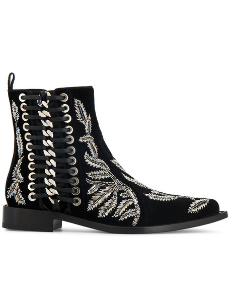 Alexander Mcqueen women braided tree ankle boots leather black velvet shoes