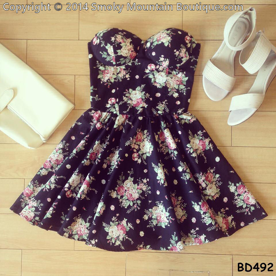 Noemie floral retro bustier dress with adjustable straps