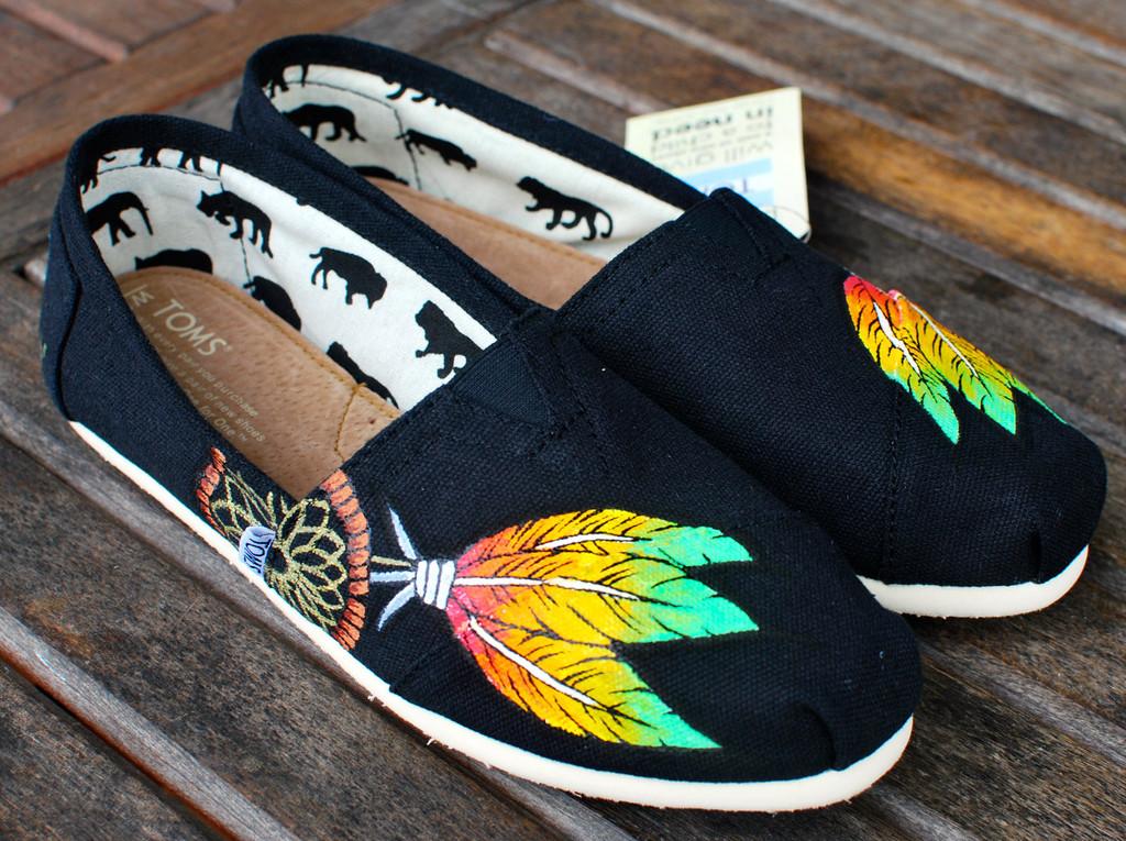 Rasta dream catcher on black canvas classic toms shoes