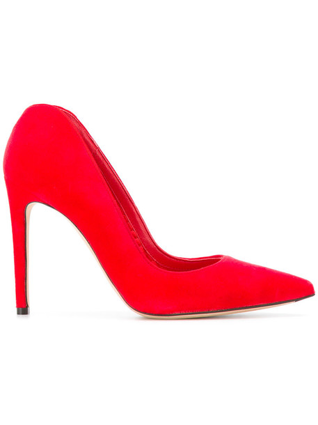 women pumps leather cotton red shoes