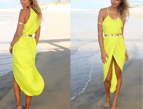 Outletpad | Sleeveless beach dress cross With metal belt Yellow | Online Store Powered by Storenvy