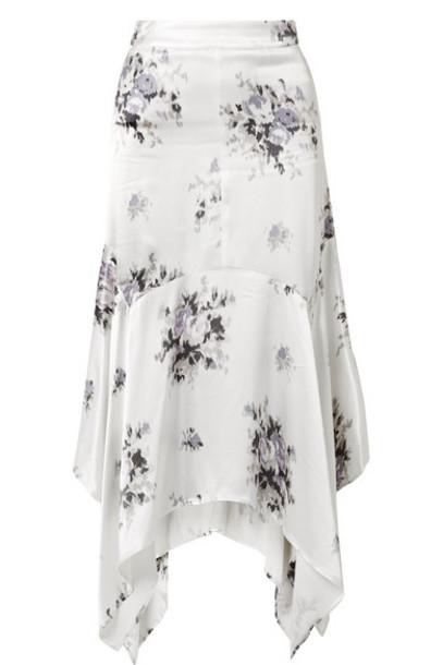 GANNI - Cameron Floral-print Satin Midi Skirt - Cream