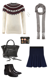 sweater,Laurel Castillo,maje,winter sweater,fall sweater,knitwear,navy skirt,tulip skirt,black leather bag,studded shoes,ankle boots,thin scarf,grey scarf,how to get away with murder,rebecca minkoff,eyebrows,outfit idea,skirt,shoes,scarf,bag,jewels,make-up