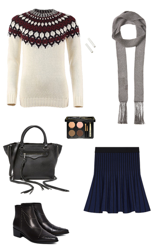 sweater laurel castillo maje winter sweater fall sweater knitwear navy skirt tulip skirt black leather bag studded shoes ankle boots thin scarf grey scarf how to get away with murder rebecca minkoff eyebrows outfit idea skirt shoes scarf bag jewels make-up
