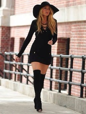 hat,little black dress,sun hat,over the knee boots,shoes,dress,thigh high boots,black boots