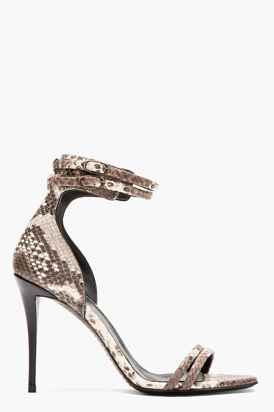 Giuseppe zanotti snake print strapped coline heels