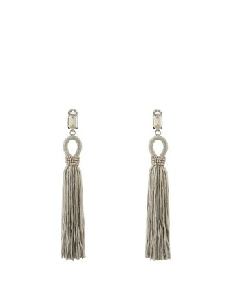 tassel embellished earrings light grey jewels