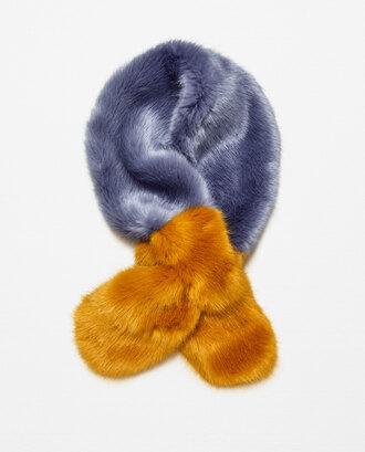 scarf faux fur mustard