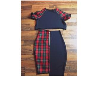 dress two-piece bodycon crop tops roll sleeve skirt midi black tartan checkered panels gold zip asymmetrical