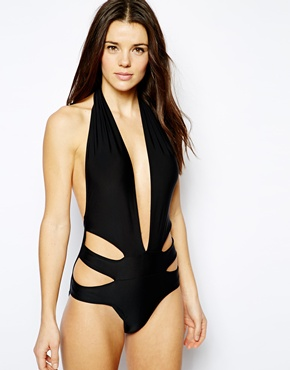 ASOS | ASOS Deep Plunge Cut Out Side Swimsuit at ASOS