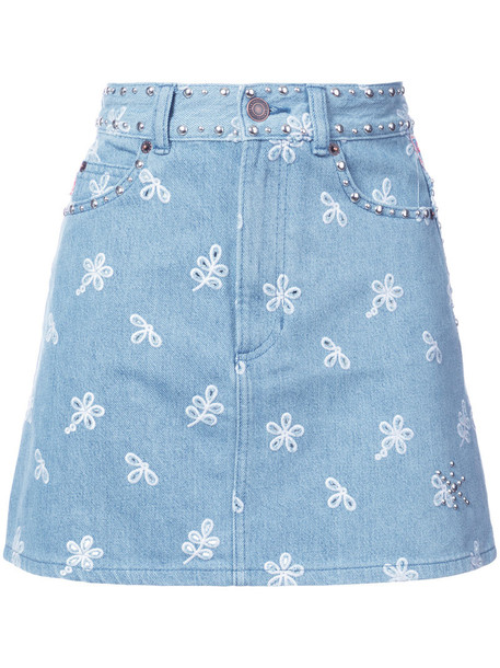 skirt short skirt short embroidered women cotton blue